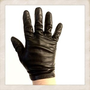 Vtg Black Leather Driving Gloves, Made in Italy